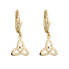 Load image into Gallery viewer, Trinity Knot Drop Earrings, Yellow Gold