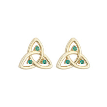Load image into Gallery viewer, Trinity Knot Stud Earrings with Emerald, Yellow Gold