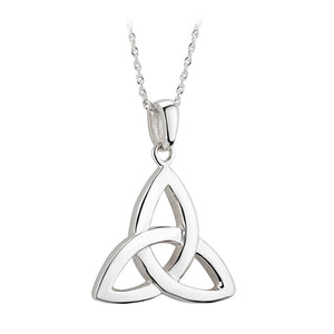 Trinity Knot Pendant, White Gold