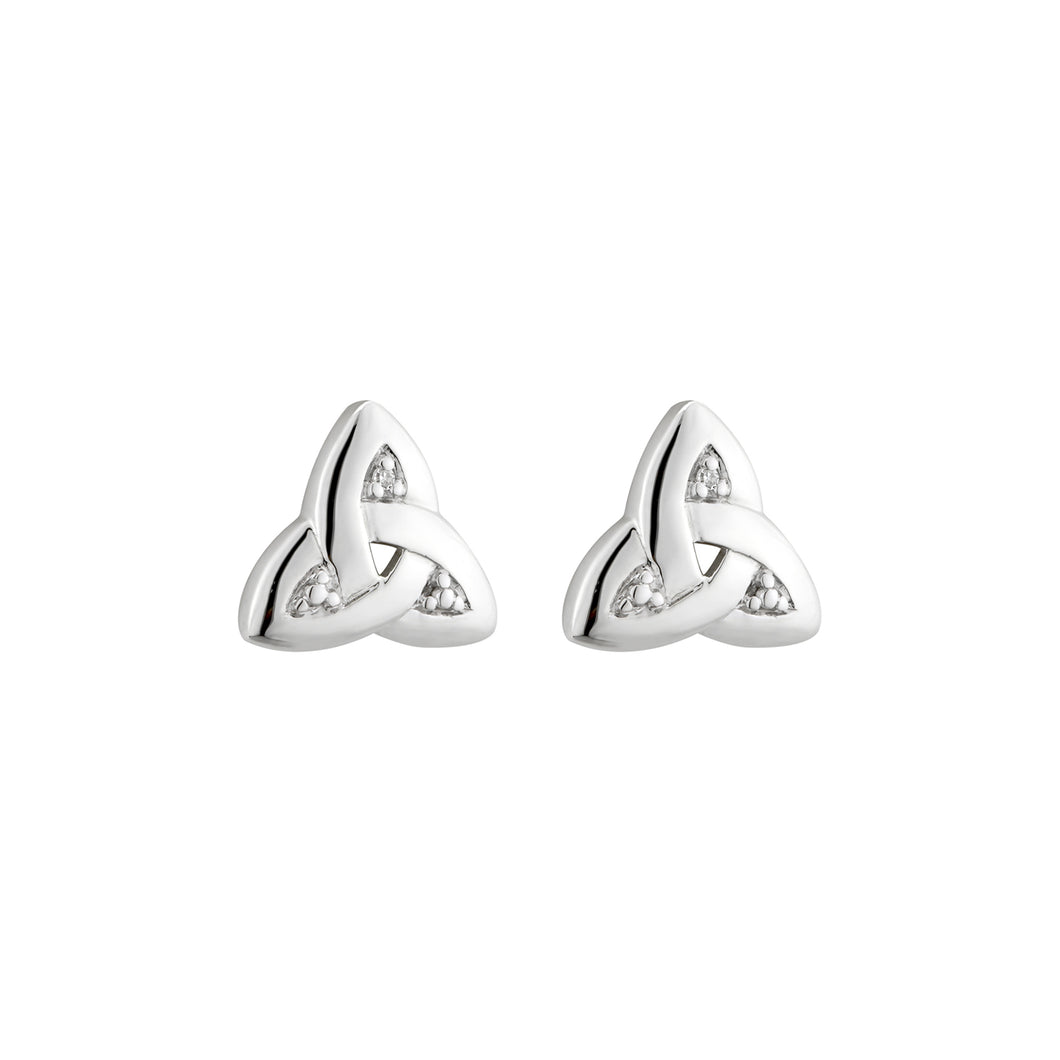 Small Trinity Knot Earrings with Diamond, White Gold