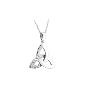 Trinity Knot Pendant with Diamond, White Gold