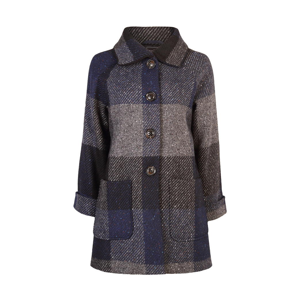 Louise Coat, Navy & Grey