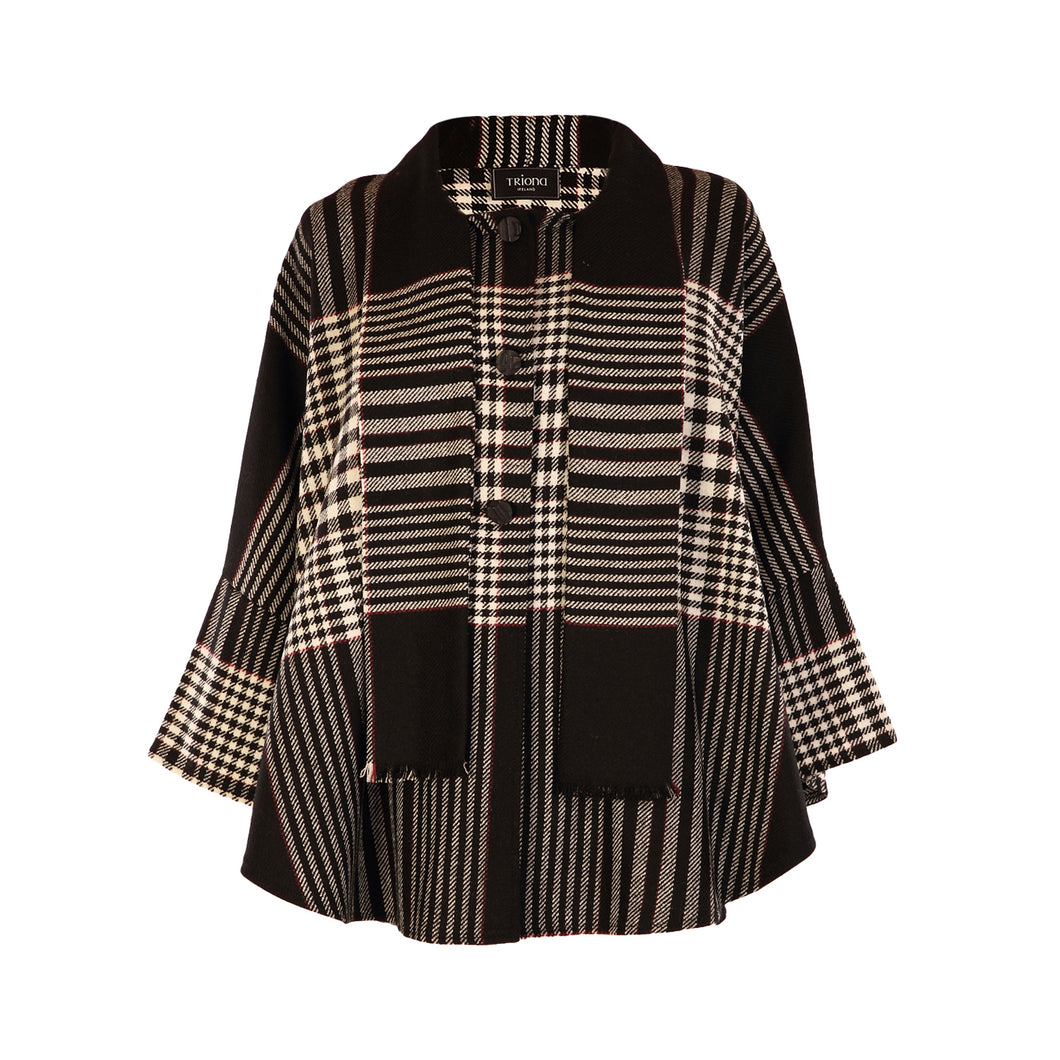 Trisha Cape, Black, White & Red Check