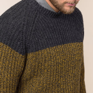 Two Tone Ribbed Crew, Bumble Bee