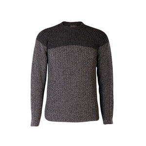 Two Tone Ribbed Crew Sweater, Slate