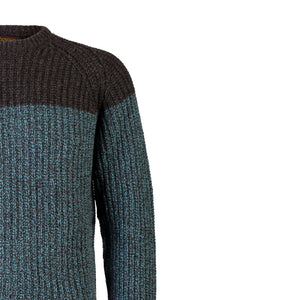 Two Tone Ribbed Crew Sweater, Turquoise & Charcoal