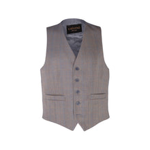 Load image into Gallery viewer, Blue & Gold Herringbone Tweed Waistcoat