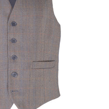 Load image into Gallery viewer, Waistcoat, Blue & Gold Herringbone