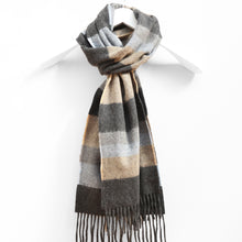 Load image into Gallery viewer, Wool & Cashmere Scarf, Denim Taupe & Grey Stripe