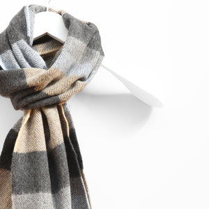 Wool & Cashmere Scarf, Denim Taupe & Grey Stripe