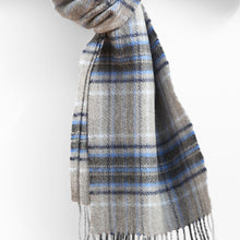 Load image into Gallery viewer, Wool & Cashmere Scarf, Grey Navy Sky Blue Tartan