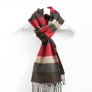 Wool & Cashmere Scarf, Red & Grey Mix Weft Stripe