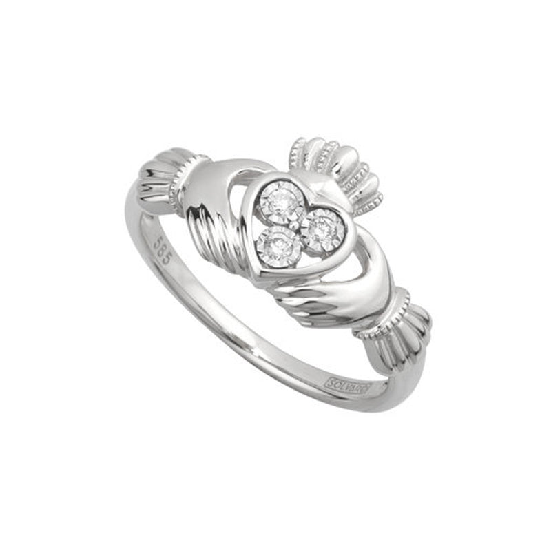 White Gold Diamond Claddagh Ring