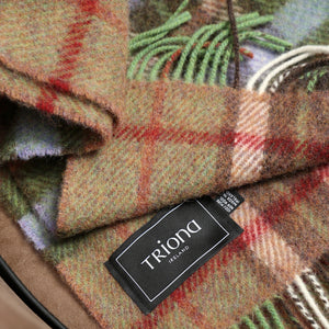 Large Wool Blanket, Brown, Beige & Red Plaid