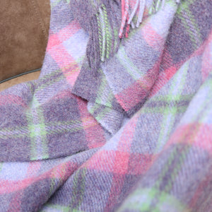 Large Wool Blanket, Lilac & Pink Check