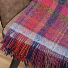 Load image into Gallery viewer, Large Wool Blanket, Raspberry, Navy & Pink Plaid