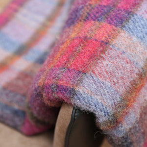 Large Wool Blanket, Raspberry, Navy & Pink Plaid
