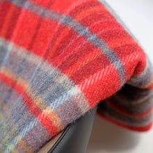 Load image into Gallery viewer, Large Wool Blanket, Red & Midnight Blue Plaid