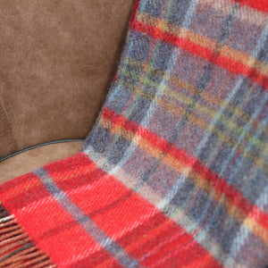 Large Wool Blanket, Red & Midnight Blue Plaid