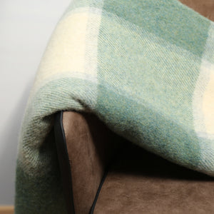 Large Wool Blanket, White Sea Green Block
