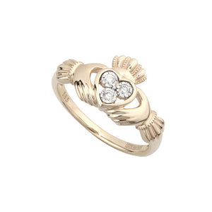 Yellow Gold Diamond Claddagh Ring