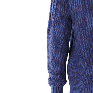Zip Neck Sweater, Indigo