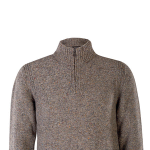 Zip Neck Sweater, Smoke