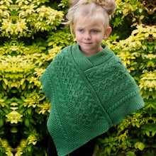 Load image into Gallery viewer, Aran Crafts Kids Wool Poncho, Green