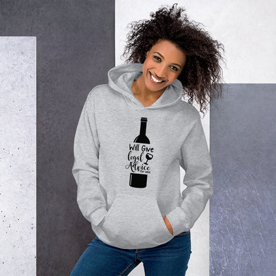Lawyer Gift Sweatshirt - Legal Advice for Wine Black - Unisex Hoodie Sweater - The Legal Boutique