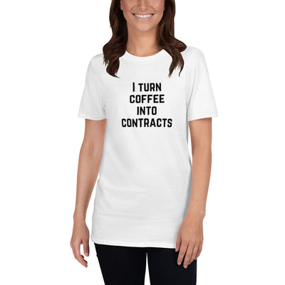Attorney T Shirt Gift - Coffee Into Contracts Black - Premium Unisex Short Sleeve Shirt - The Legal Boutique