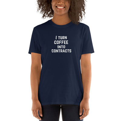 Attorney T Shirt Gift - Coffee Into Contracts White - Premium Unisex Short Sleeve Shirt - The Legal Boutique