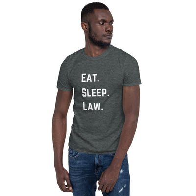 Attorney Gift T Shirt - Eat Sleep Law White - Premium Unisex Short Sleeve Shirt - The Legal Boutique
