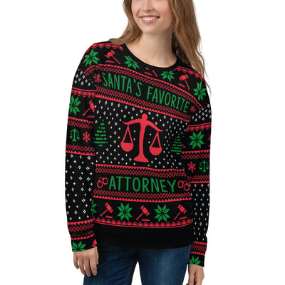 Santa's Favorite Attorney All-Over Ugly Christmas Sweater - The Legal Boutique