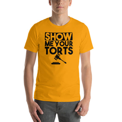 Lawyer T Shirt - Show Me Your Torts Black - Unisex Short Sleeve Shirt - The Legal Boutique