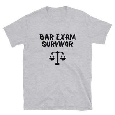 New Lawyer Gift T Shirt - Bar Exam Survivor Black - Unisex Short Sleeve Shirt - The Legal Boutique
