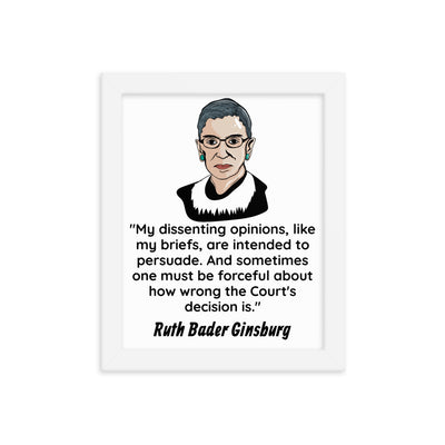 Framed Poster - I Dissent Ginsburg - Lawyer Gift - The Legal Boutique