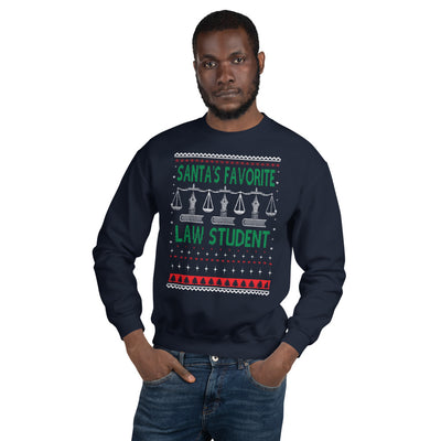 Ugly Christmas Sweater - Santa's Favorite Law Student - Unisex Crew Neck Sweatshirt - The Legal Boutique