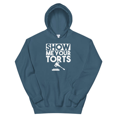 Attorney Gift Hoodie - Show Me Your Torts White - Unisex Hooded Sweatshirt - The Legal Boutique