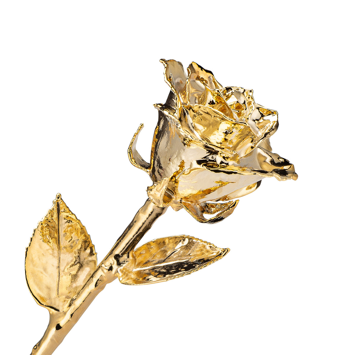 Real 24K Gold Forever Rose. Rose is fully dipped in gold. View shows the rose petals, sepals, stem, and leaves covered in 24 karat gold.