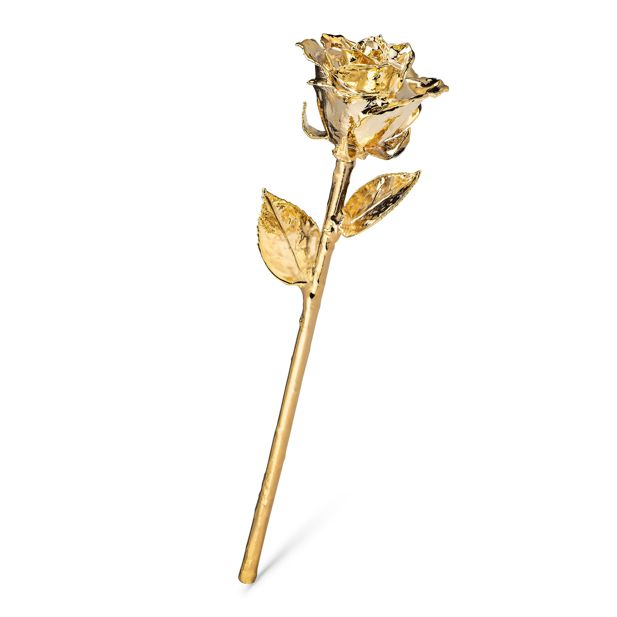Real 24K Gold Forever Rose. Rose is fully dipped in gold. View shows the rose petals, sepals, stem, and leaves covered in 24 karat gold. The entire stem is shown.