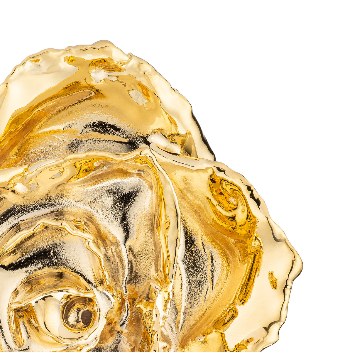 Real 24K Gold Forever Rose. Rose is fully dipped in gold. View shows the rose petals, sepals, stem, and leaves covered in 24 karat gold. This view is a close up view from the top.