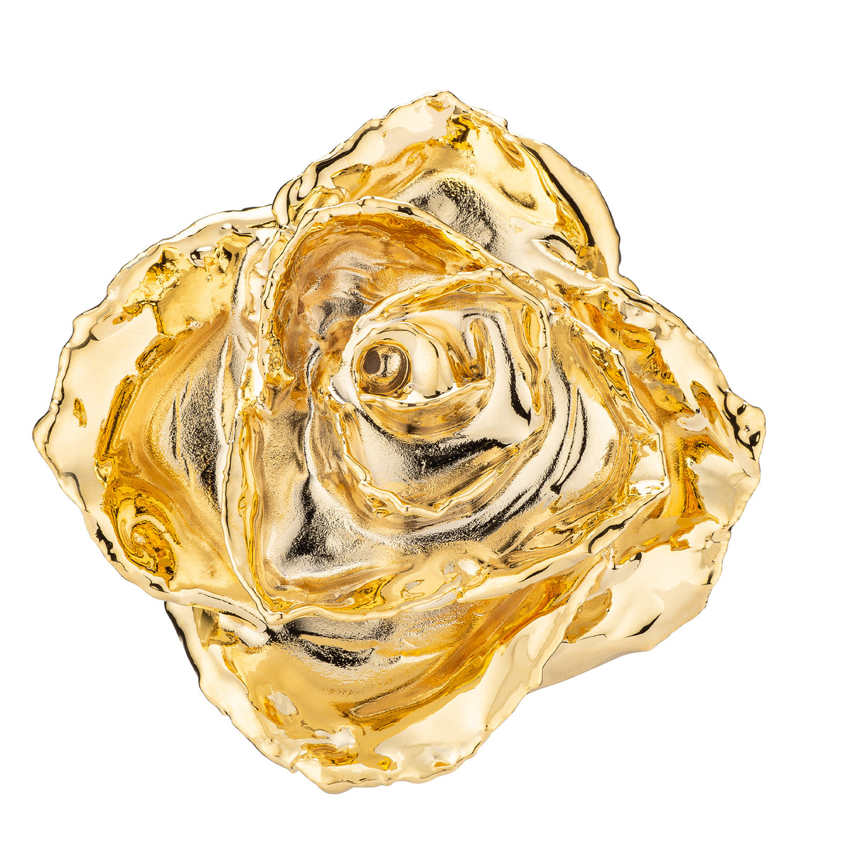 Real 24K Gold Forever Rose. Rose is fully dipped in gold. View looking down into the rose petals shows the rose petals covered in 24 karat gold.