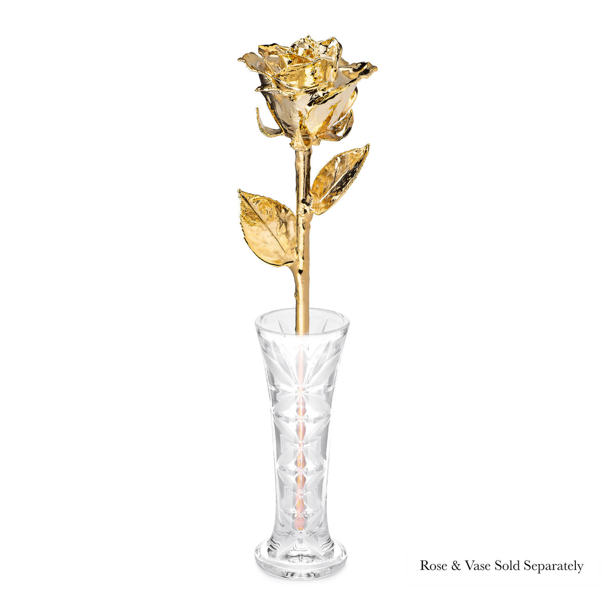 Real 24K Gold Forever Rose. Rose is fully dipped in gold. View shows the rose petals, sepals, stem, and leaves covered in 24 karat gold. The rose is shown in the optional crystal vase.