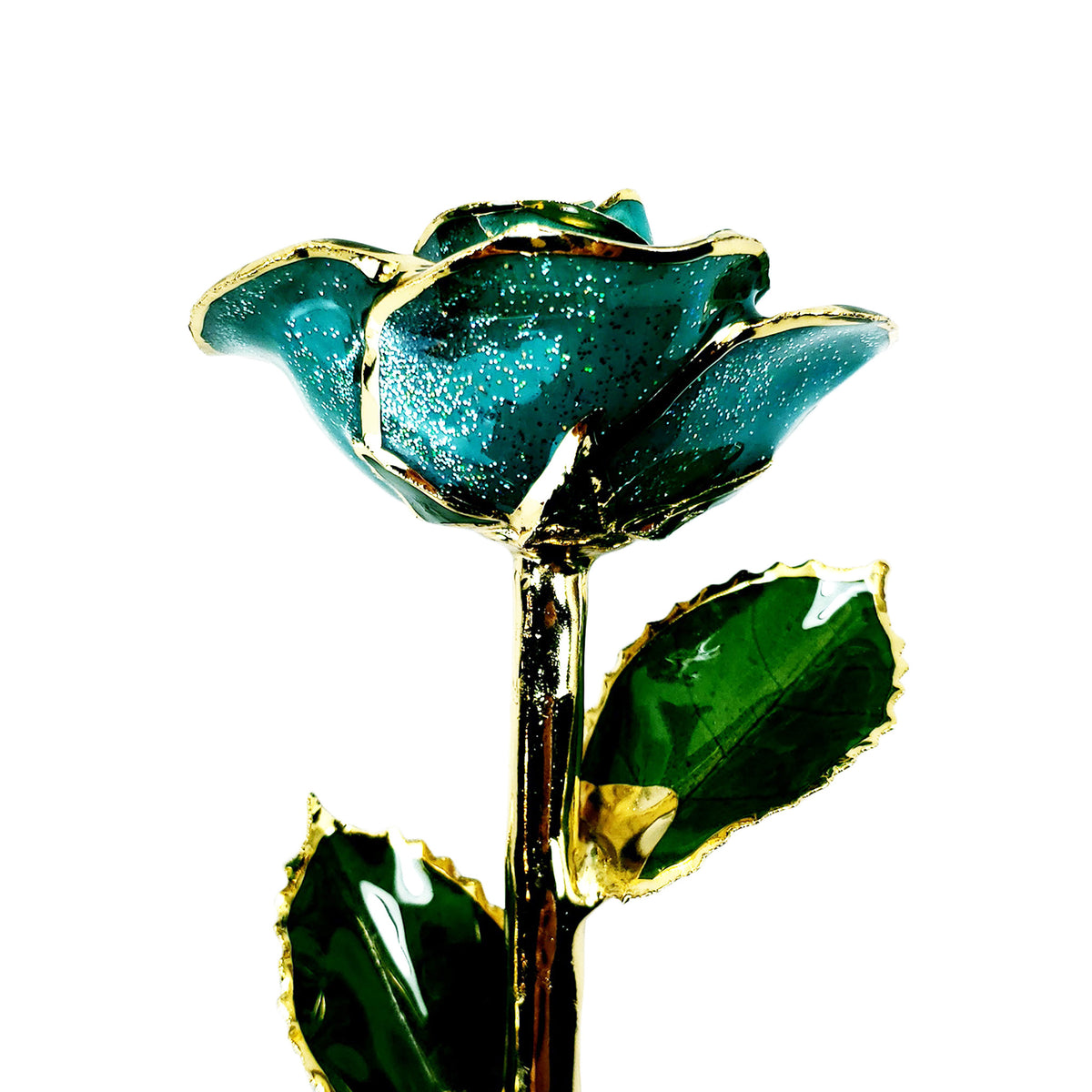 24K Gold Trimmed Forever Rose with Teal Petals with sparkles suspended in the finish. View of Stem, Leaves, and Rose Petals and Showing Detail of Gold Trim