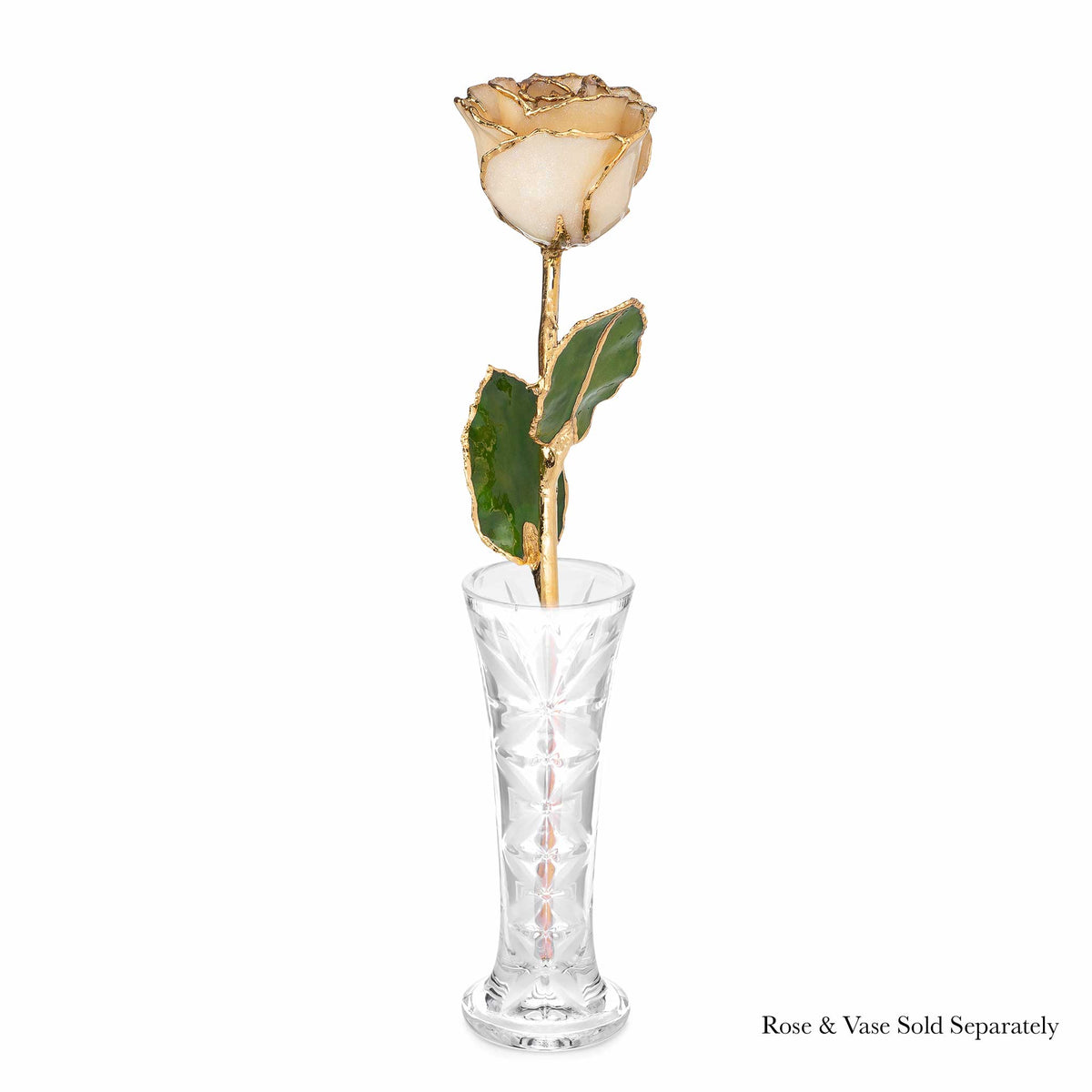 24K Gold Trimmed Forever Rose with Diamond Petals with Sparkles. View of Stem, Leaves, and Rose Petals and Showing Detail of Gold Trim shown in optional crystal vase
