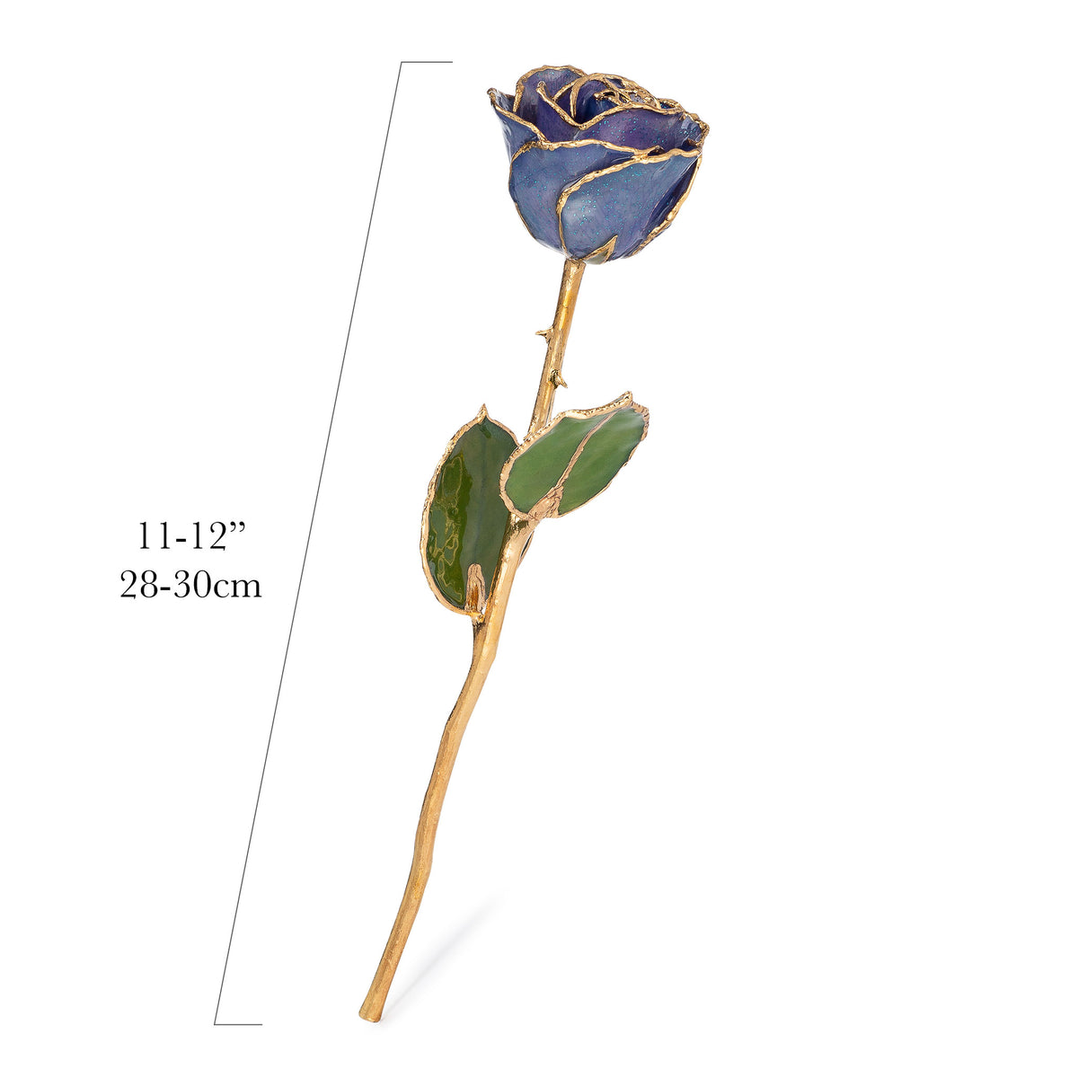 24K Gold Trimmed Forever Rose with Tanzanite (Purple, Lavender, and Blue color blend) Petals with Sapphire Blue Suspended Sparkles. View of Stem, Leaves, and Rose Petals and Showing Detail of Gold Trim with measurements