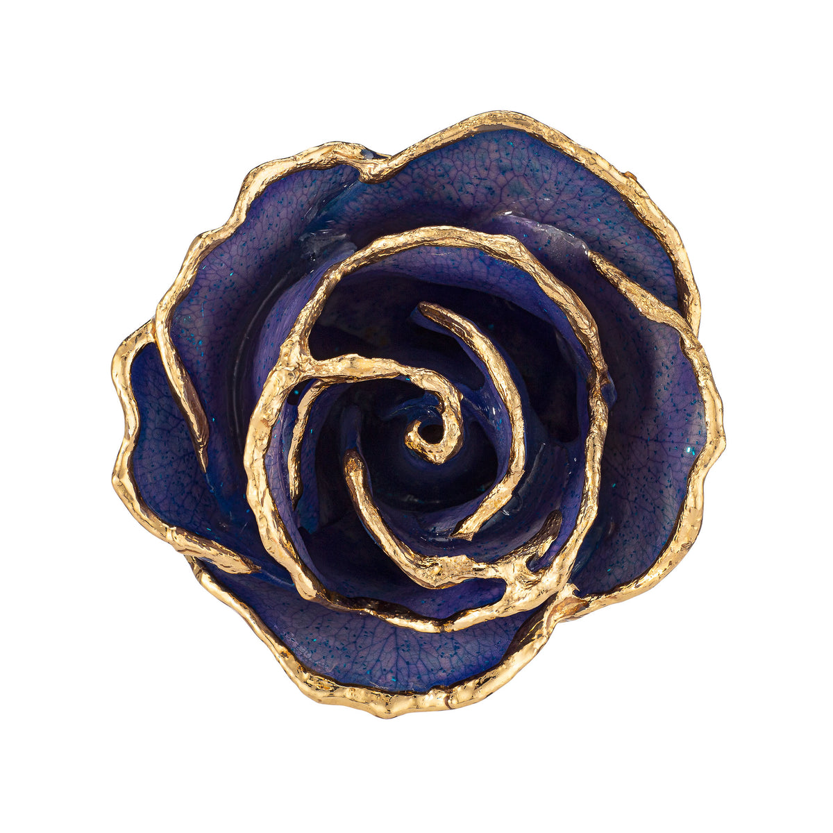 24K Gold Trimmed Forever Rose with Tanzanite (Purple, Lavender, and Blue color blend) Petals with Sapphire Blue Suspended Sparkles. View of Stem, Leaves, and Rose Petals and Showing Detail of Gold Trim view looking down into rose.