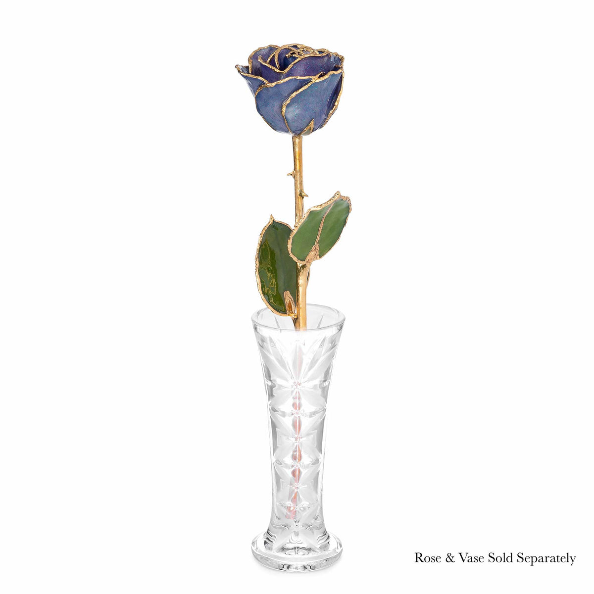 24K Gold Trimmed Forever Rose with Tanzanite (Purple, Lavender, and Blue color blend) Petals with Sapphire Blue Suspended Sparkles. View of Stem, Leaves, and Rose Petals and Showing Detail of Gold Trim Shown with Optional Crystal Vase.