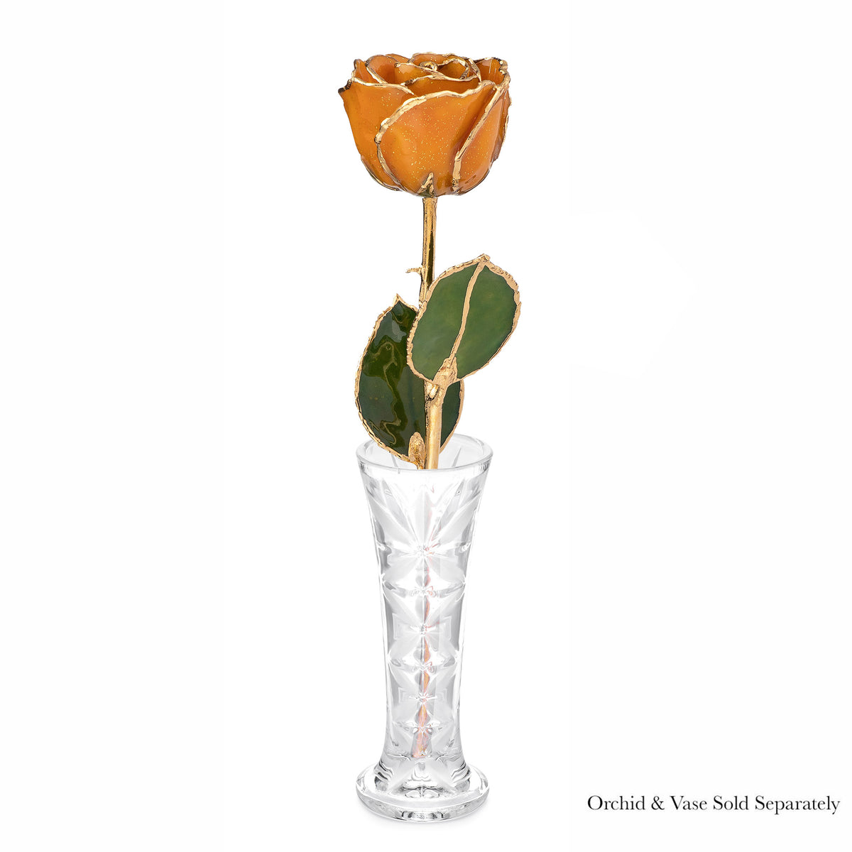 24K Gold Trimmed Forever Rose with Topaz or Citrine (Amber color) Petals with Gold colored Suspended Sparkles. View of Stem, Leaves, and Rose Petals and Showing Detail of Gold Trim. Shown with optional crystal bud vase