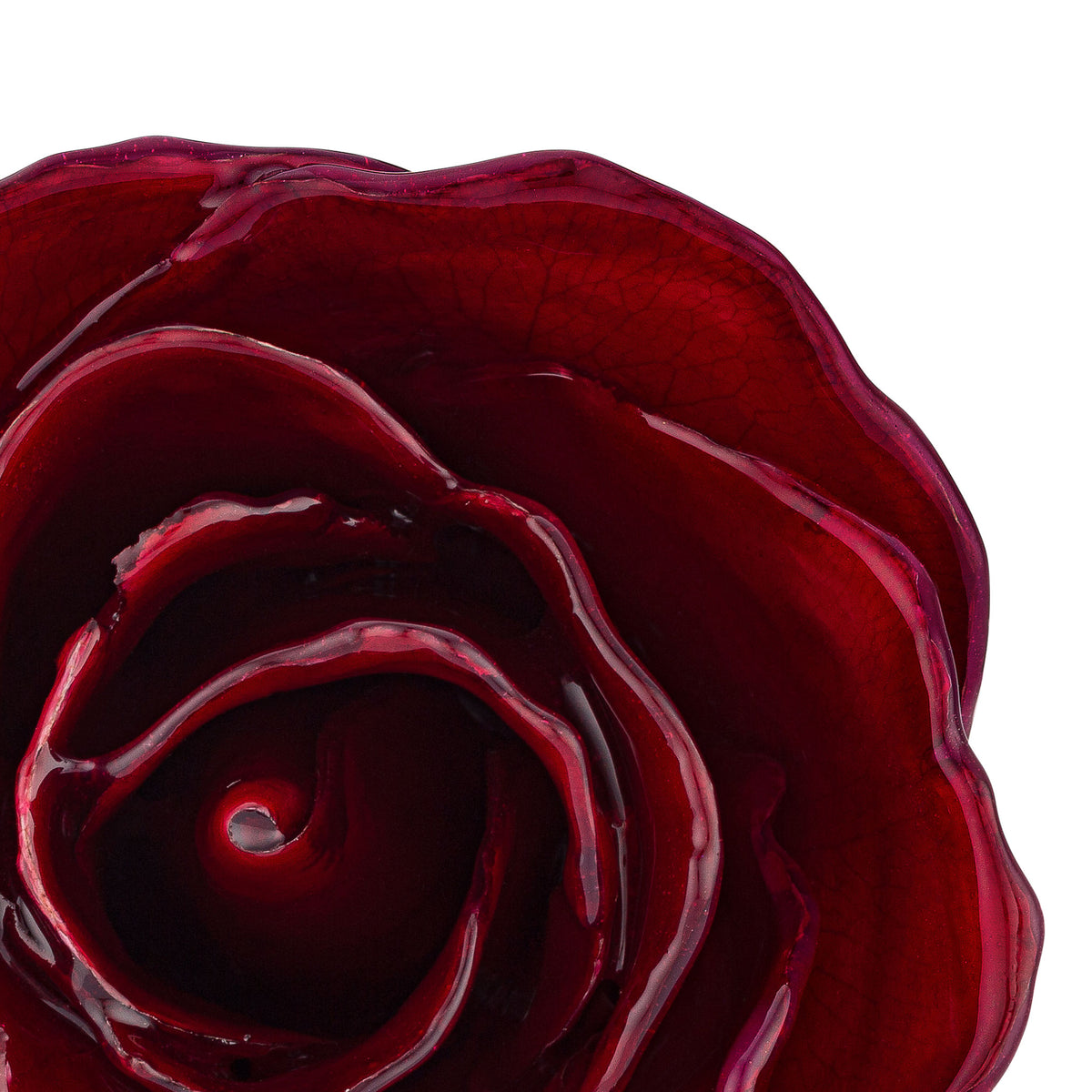 Natural (Green Stem) Forever Rose with Deep Red, Burgundy Colored Petals. View of Stem, Leaves, and Rose Petals. This a Forever Rose without any gold or other precious metals on it. zoomed in view from top.